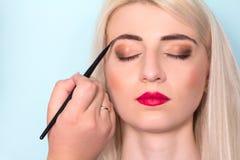 Makeup artist paints a woman blush cheekbones. Makeup. Stock Photography
