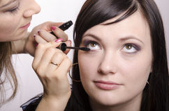 Makeup artist in the process of makeup colors eyelashes model Stock Image