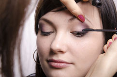 Makeup artist in the process of makeup colors eyelashes model Stock Photos