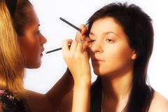 Makeup artist at work Royalty Free Stock Photo