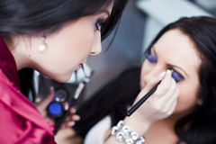 Makeup artist at work Royalty Free Stock Photography