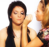 Makeup artist at work Stock Images