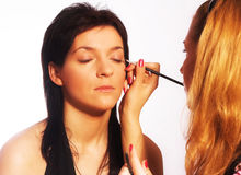 Makeup artist at work Stock Photography