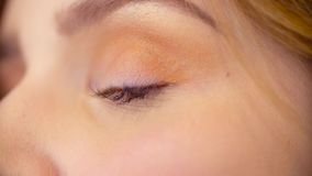 Makeup artysta stosuje eyeshadow zbiory