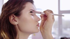 Makeup artysta stosuje oko cień zbiory wideo