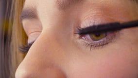 Makeup artysta stosuje tusz do rzęs zdjęcie wideo