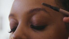 Makeup artysty zgrzywione brwi z muśnięciem przed skubać kształt i korygować zbiory wideo