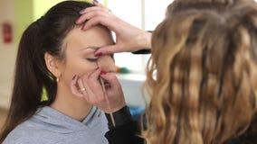 Makeup, backstage, powder stock footage