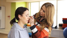 Makeup, backstage, powder stock video