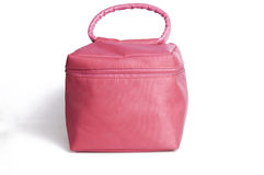 Makeup bag. Feminine looking baggage in pink Stock Photos