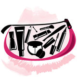 Makeup bag with beautician tools inside Royalty Free Stock Image