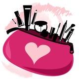 Makeup bag with beautician tools Stock Image