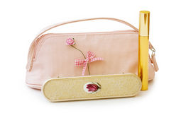Makeup bag with brush and clipping path Stock Images