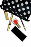 Makeup bag and cosmetics Royalty Free Stock Image