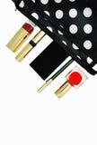 Makeup bag and cosmetics Stock Photography