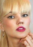 Makeup of beautiful blonde stock images