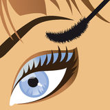 Makeup beautiful female eye mascara. Vector. Beauty salon close-up of a beautiful female eye mascara. Vector illustration Stock Photo