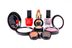 Makeup. Beautiful shot of makeup items on white background Stock Photo