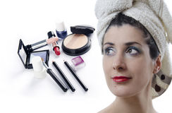 Makeup and beauty. Makeup kit and beauty woman. Two combo images Royalty Free Stock Image