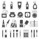 Makeup beauty accessories black icons set Stock Photo
