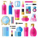 Makeup beauty accessories flat icons set Royalty Free Stock Image
