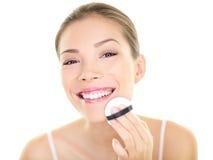 Makeup beauty Asian woman applying foundation face royalty free stock photos