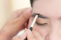 Makeup beauty with brush eyebrow Royalty Free Stock Images