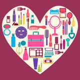 MakeUp and beauty cosmetic Symbols Stock Image