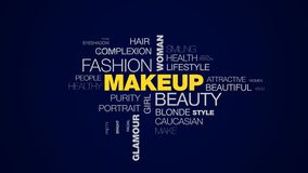 Makeup beauty fashion woman cosmetics skincare face prettiness model glamour eyes animated word cloud background in uhd stock video footage