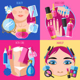 Makeup beauty 4 flat icons square Royalty Free Stock Image
