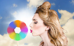 Makeup beauty girl blowing hair colors palette Stock Image