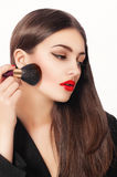 Makeup. Beauty Girl with Make up Brushes. Natural Make-up for Brunette Woman Stock Image
