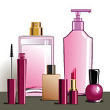 MakeUp and beauty products. Collection of cosmetics and beauty products, full scalable  graphic, change the colors as you like Royalty Free Stock Photography