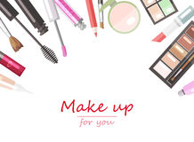 Makeup beauty products flat vector Royalty Free Stock Photos