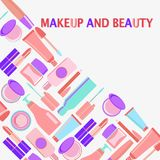 MakeUp and beauty Symbols, Cosmetics and fashion background with Stock Photo