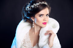 Makeup. Beauty Winter portrait of fashion girl  in white Fur Coa Royalty Free Stock Images