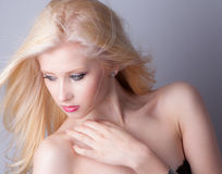 Makeup and Blowing Hair Royalty Free Stock Photos