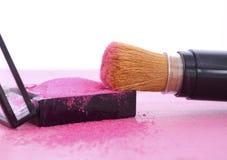 Makeup Blush Powder and Brush Royalty Free Stock Images