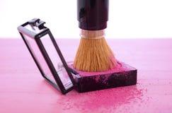 Makeup Blush Powder and Brush Stock Photo