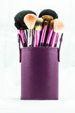 Makeup borstar i violett lether boxas arkivbild