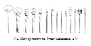 Makeup borstar satsen royaltyfri illustrationer