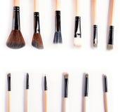 Makeup borstar tätt upp, den bästa sikten Fotografering för Bildbyråer