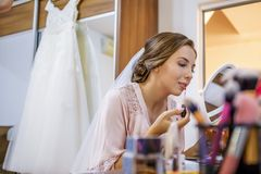 Makeup for bride in wedding day Royalty Free Stock Image