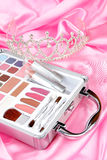 Makeup Briefcase And Diadem Royalty Free Stock Photography