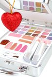 Makeup Briefcase And Heart Stock Images