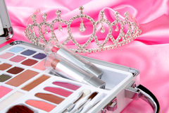Makeup briefcase and diadem Stock Image