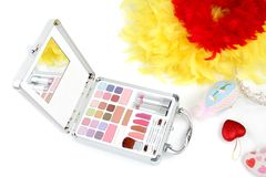 Makeup briefcase and feathers Royalty Free Stock Image