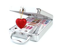 Makeup briefcase and heart Royalty Free Stock Photography