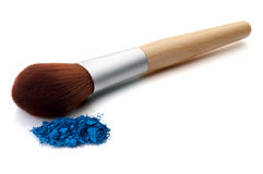 Makeup brush with blue make-up Stock Photo
