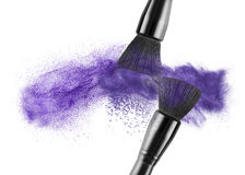 Makeup brush with blue powder isolated royalty free stock image